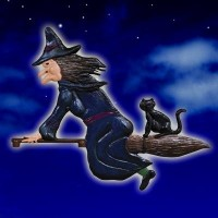Witch & Cat Blue