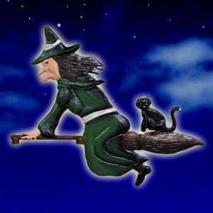 Witch & Cat Green